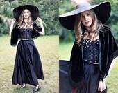 Vintage 90s Velvet Shawl Fringe Gypsy Gothic Shawl
