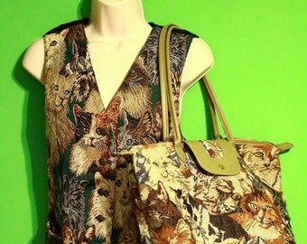 Vintage 80s Set Womens Cat Tapestry Vest and Luggage Bag Duffel Bag Carry On Travel Hipster