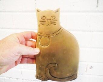Vintage brass cat trivet kitteh stylized  rubel mod retro