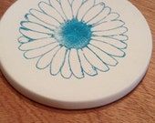 cup holder coaster, wine glass coaster - hand stamped bisque tile, absorbent -- gerbera daisy, choose color