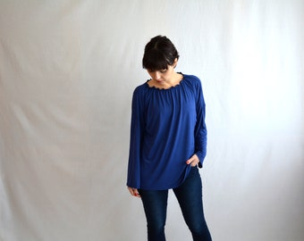 Blue long sleeve tshirt, Jersey top, Blue tunic, Long sleeve shirt, Blue blouse, Blue sweater, Plus size tshirt, Women Clothing, Blue top