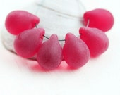 Frozen Red Teardrop beads, Large briolettes, Matte Red czech glass drops - 10x14mm - 6Pc - 0380