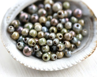 Picasso beads mix, Grey Green luster, czech glass small spacers, round, druk, Mother of Pearl shine - 4-3-2mm - approx.180Pc - 2758