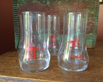 SALE- Set of 5 Vintage Upside Down 7up Glasses- The Uncola