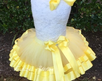 Yellow Satin Ribbon Trimmed TuTu ~~~With Free Hair Bow  ~~27 Solid Colors available~~~