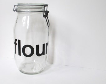Vintage Glass Flour Canister, Triomphe Glass Jar Container