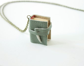 Mini book necklace, mini book pendant, miniature book necklace, literary jewelry, english major, bibliophile, bookish, gifts for readers