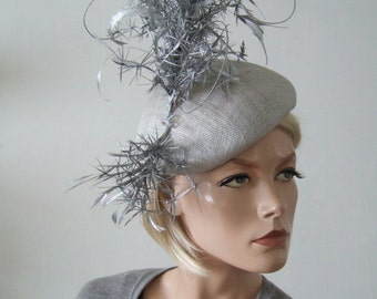 """Light and Metallic Silver Curled Feather Branch Beret Headpiece Derby Ascot Hat """"Wakitia"""" FG0301 Mother of The Bride Fashions on the Field"""