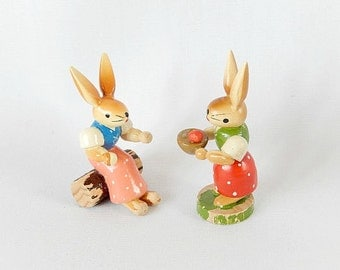 vintage wooden bunny figurines, 2 Erzgebirge Germany, collectibles, Easter decor, bunnies rabbits, handcrafted
