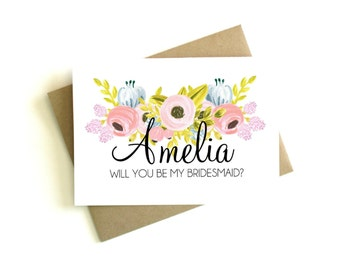 Personalized Bridesmaid Card 'Will You Be My Bridesmaid' - Greeting Card, Bridesmaid, Wedding Card, Floral Card, Bridal Party