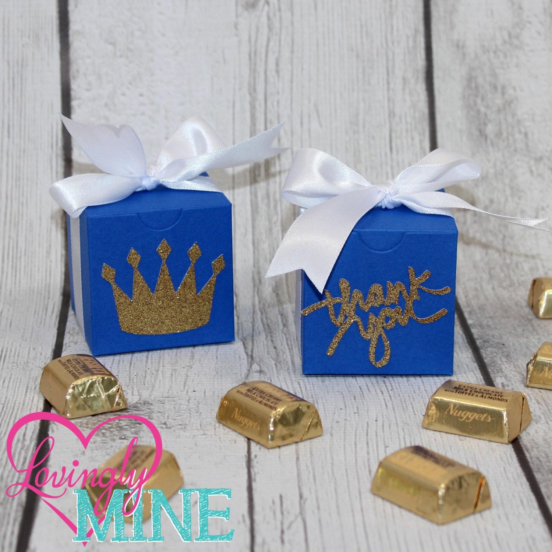 Royal Baby Gift Ideas : Royal blue white glitter gold medium box favors boxes