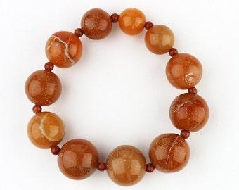 Carnelian Bracelet - FREE Shipping in USA - Natural Bracelet, Orange, Healing Bracelet, Carnelian Beads, Portland, OR 926