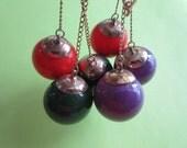 Vintage Mod Ball Drop Earrings Groovy Vintage Costume Jewelry 1960's Costume Red Green Purple