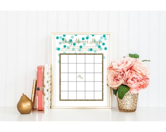 BABY shower printable bingo games activity gold glitter foil blue aqua teal turquoise mint dot calligraphy script cursive pdf jpg
