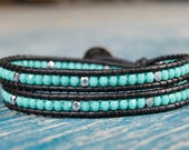 FREE SHIPPING Double Wrap Bracelet Turquoise and Silver Beads Natural Black Leather Giraffe Button Leather Jewelry Boho Bracelet