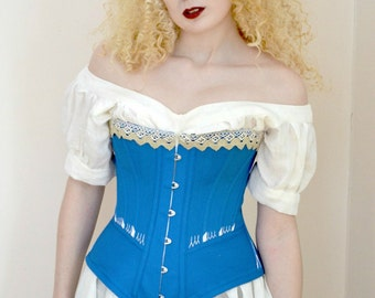 Corset with Spoon Busk, Corded Blue Late Victorian