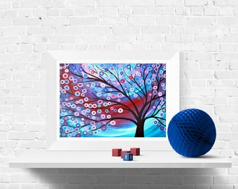 Abstract Tree Print in Blue, Red, and White - Giclee Print of Original Abstract Tree Painting - Louise Mead Fine Art Print