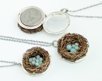 LOCKET Necklace 1 to 10 eggs. Mothers Birds Nest Silver Locket Amazonite gemstone mom custom gift Friend Sister bridesmaids