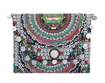 Handmade Coin Clutch Bag With Embroidered Fabric Thailand (BG306WC-141C20)
