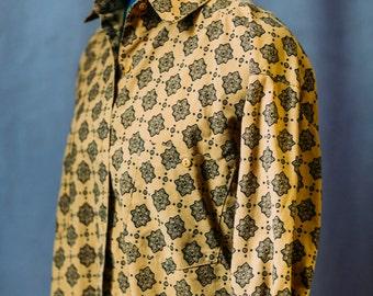 Vintage mustard yellow blouse / indie / medium