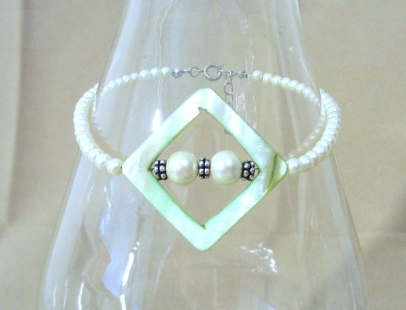 Green Mother of Pearl & Pearl Anklet, Large Open Diamond w/ Silver Accents Handmade Original Fashion Jewelry Bold Classic Summer Beach Gift