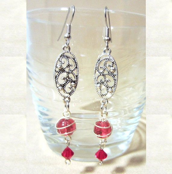 Silver Wire Wrap Rose Glass Bead & Silver Filigree Dangle Earrings, Handmade Original Unique Design, Bold Feminine Vintage Look Ladies Gift