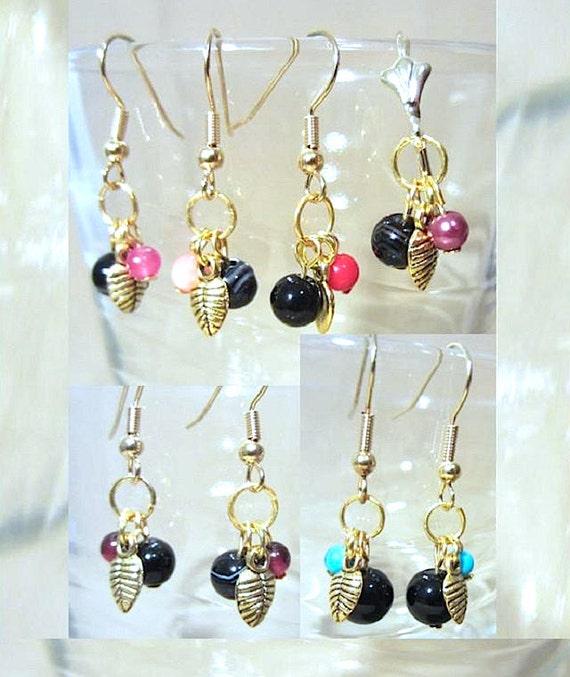 Round Banded Black Onyx, Semi Precious Stone & Gold Leaf Dangle Earrings, Handmade Dainty Original Fashion Jewelry, Petite Ladies Gift Idea