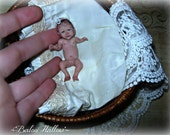 Lifelike Miniature 1/12 scale OOAK baby Girl ORIGINAL Art Doll/ Realistic Hand-Sculpted Dollhouse Newborn / by BaLoO HaLLoW