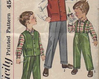 Vintage 1950s Boys Suit Pattern, Shirt, Vest, and Pants Pattern, Suspender Pants Pattern, Retro Boys Special Occasion Suit Pattern, Size 8
