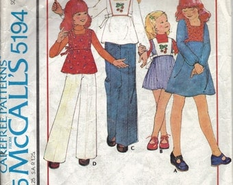 Easy Girls Peasant Dress and Top Pattern, Dress, Jumper, and Pants Pattern, 1970s Pattern, Peasant Dress Pattern, Size 8 Chest 27 Inches