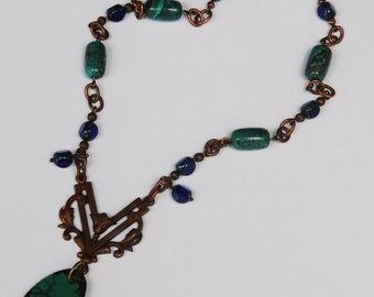 Simple but Catches Your Attention with Turquoise Pendant, Turquoise,  Navy Czech Glass w/Art Nouveau Connector