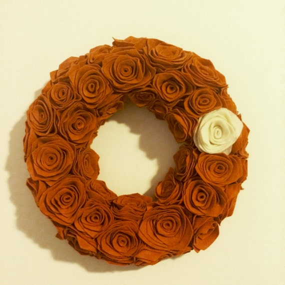 Handmade Pumpkin Felt Rosette Wreath. Premium felt. Fall Wreath. Handmade Wreath. Door Hanging. Wall Hanging. Custom.Handmade