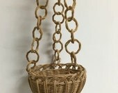 Vintage 70's Hanging Wicker Basket ~ Planter with Wicker Chains