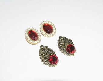 Two Pair Vintage Ruby Rhinestone Earrings- Come in a gift box
