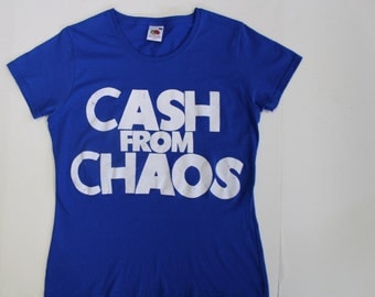 Punk T shirt CASH from CHAOS-Rock Roll Swindle- Seditionaries-screenprinted-mens loose fit womens fitted all sizes-Blue Shirt- XS 36-M 38