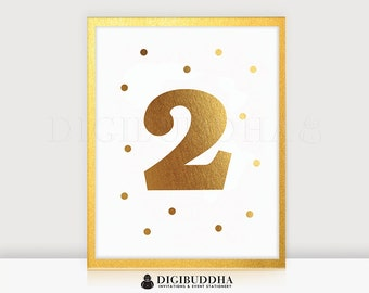 2ND BIRTHDAY SIGN Real Gold Foil Print Birthday Party Sign Two Second Birthday Sign Girl Birthday Sign Gold Foil Keepsake Gold Foil Wall Art