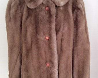 Vintage 1950s Light Brown Genuine Fur Jacket Coat 8 10 12 14