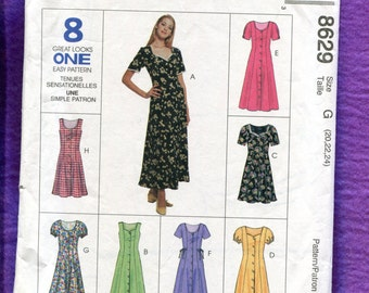 McCalls 8629 Sweetheart Neckline Princess Seam Dress with Front Buttons Size 20  22  24 UNCUT