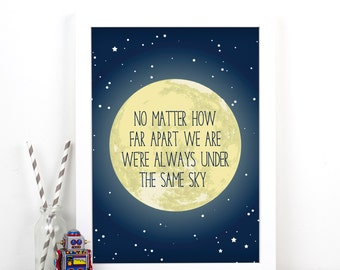 Personalised Moon Print, Long Distance Love, Poster, Valentines Print, Moon and Back, Personalised Valentines Gift, Love Quote, Star Print