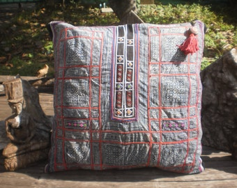 Indigo Batik Folk Art Textile Cushion Cover