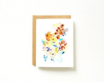Flower Card, Floral Card, Card for Mom, Mothers Day Card, Blank Card, Watercolor Card, Card for Friend, Card for Girlfriend, Stationary