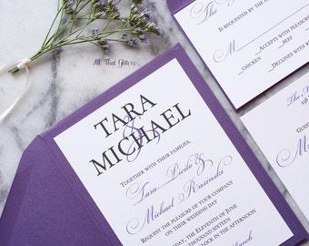 Lavender wedding invitations, eggplant wedding invitations, purple wedding invites with RSVP,  wedding invitation SET, Tara