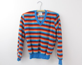 Jewelled Rainbow Velvet Sweater - Vintage 1970s Giorgio Striped Top in Small