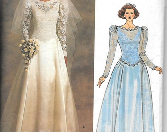 Vintage 1985 Vogue 1519 Misses' Bridal Original Gown, Or Maid Of Honor Gown, With, Lace Overlay On Bodice, Train, And Petticoat Size 12