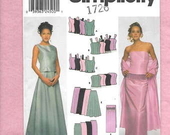 Simplicity 9466 Evening Tops, Skirts And Wrap, Straight Or Flared Skirts, And 4 Different Princess Seamed Tops,  Sizes 6 - 12