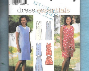 Vintage 1996 Simplicity 7043  Misses' Button Front Jumper, Or Sleeveless Dress, Tunic Top, Pants, Or Shorts, Sizes 6, 8, 10,  UNCUT