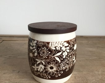tea canister / storage jar with handprinted floral design and wooden lid // 1970s