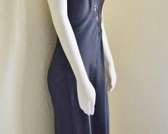 Vintage Black Satin Polyester Maxi Val Mode Nightgown Size Medium Deep Lace