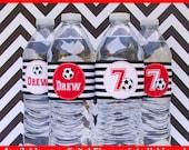 Soccer Water Bottle Labels - Soccer Water Bottle Wraps - Sports Bottle Labels- Soccer Party Decor - Digital & Printed