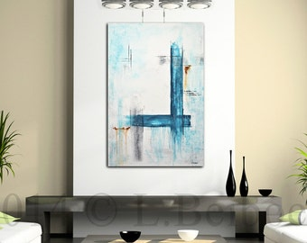 Abstract Painting 24 x 36 original modern art large blue white contemporary acrylic painting cuadro by L.Beiboer
